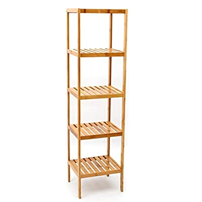 100% Bamboo Bathroom 5-Tier Shelf Multifunctional Storage Rack Shelving Unit - Natural