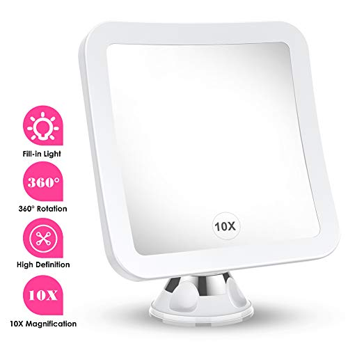 MTORED 10x Magnifying Lighted Makeup Mirror with Natural White LED Lights, 360°Swivel Portable Cordless Makeup Mirrors with Locking Suction Base for Home Bathroom Shower and Travel