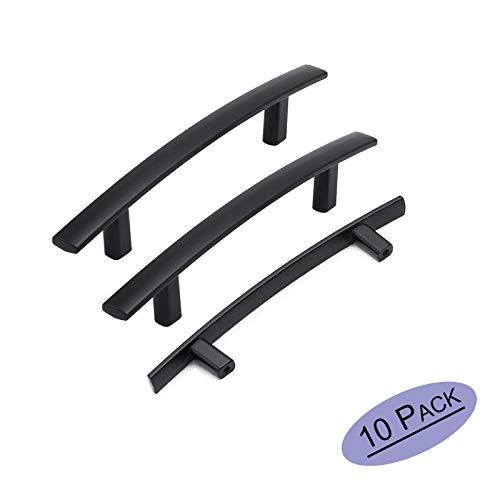 (goldenwarm 10 Pack Kitchen Cabinet Pulls Matte Black Curved Cabinet Drawer Pulls - LS1003BK102 Kitchen Cabinet Hardware 4in Hole Centers Balck Arch Bathroom Cabinet Door Handles)