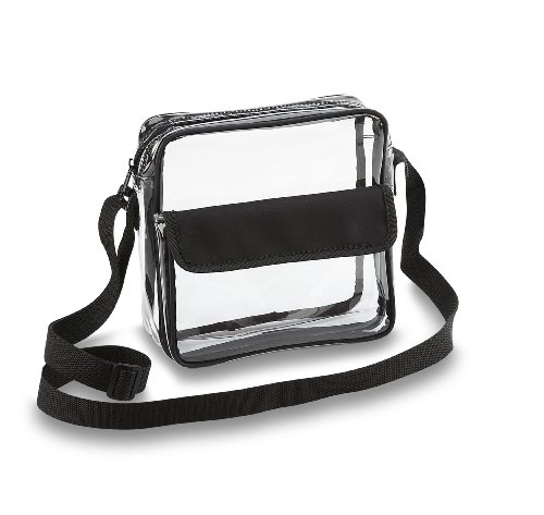 South Shoulder Tote (Clear Cross-Body Messenger Shoulder Bag w Adjustable Strap, NFL Stadium Approved Transparent Purse (Black))