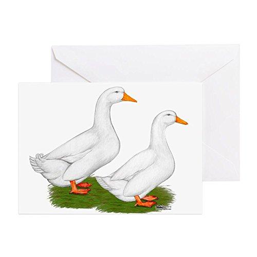 [CafePress - White Pekin Ducks 2 - Greeting Card, Note Card, Birthday Card, Blank Inside Glossy] (White Pekin Duck)