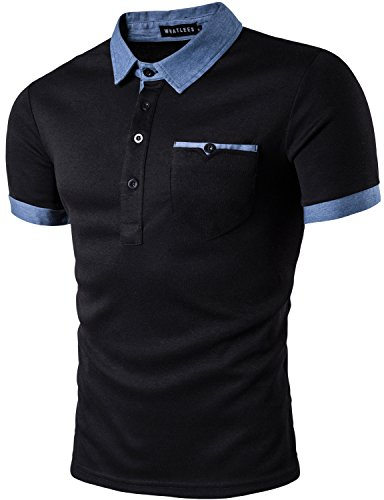 WHATLEES Mens Hipster Casual Slim Fit Basic Polo Shirts Short Sleeve with Pocket/Tops T31-Black XX-Large
