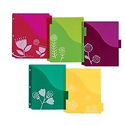 Avery Big Tab Insertable Plastic Dividers w/ Pockets, 5 Tabs, 1 Set, Assorted Fashion Designs (07712)