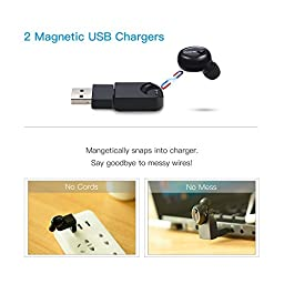 Bluetooth Earbud, ENACFIRE Wireless Earbud with 2 Magnetic Chargers and 6 Hour Playtime Car Headset with Mic for iPhone and Android Devices (One Piece)