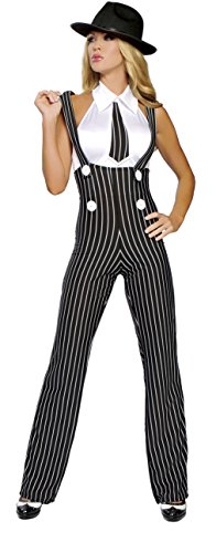 2 Piece Sexy Gangster Mob Wife Suspender Pants & Top Costume
