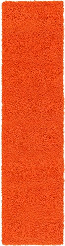 Unique Loom Solo Solid Shag Collection Modern Plush Tiger Orange Runner Rug (2' 6 x 10' 0) (Runner Burnt Orange Rug)
