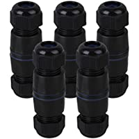 CNBTR Ethernet LAN Black IP68 Protection M25 Stuffing Locknut Plastic RJ45 UnShielded Waterproof Cable Gland Connector for Double Cable Set of 5