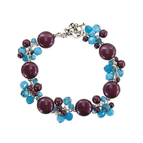 - Swarovski Crystal Purple and Blue Cluster Bracelet