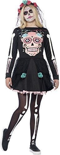 Teen & Older Girls Sugar Skull Day of The Dead Halloween Fancy Dress Costume Outfit 12-16 Yrs (14-16 Years) Black