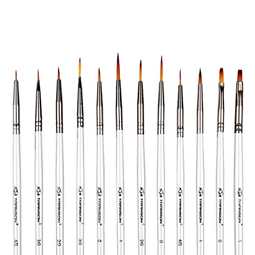 (Transon Artist Detail Paint Brush Set of 12pcs for Acrylic, Miniature Model Painting,Oil, Gouache, Watercolor, Tempera and Body Painting)