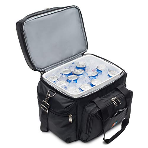 MOJECTO Large Cooler Bag with Leakproof Hard Liner Bucket. Two Insulated Compartments, Heavy Duty 1680D Fabric, Thick Foam Insulation, Reinforced Stiches, Durable Zipper, Metal Clips, - Hardliner Cooler