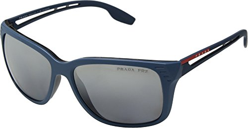 Prada Linea Rossa  Men's 0PS 03TS Matte Blue/Grey Polarized Mirror One - Polarized Rossa Linea Prada