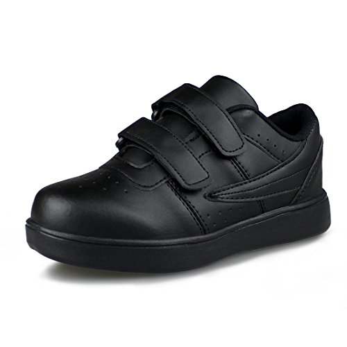 Hawkwell Kids School Uniform Sport Shoes(Toddler/Little Kid),Black PU,11 M (School Uniforms Shoes)
