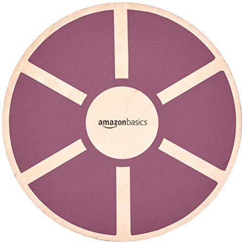 (AmazonBasics Wood Wobble Balance Board - 16.2 x 16.2 x 3.6 Inches, Purple)