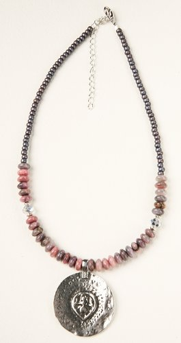- Necklace, Goddess Medallion with Rhodonite Rondels