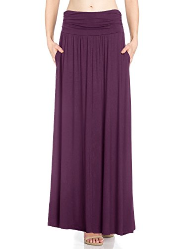 Womens 1 Pack High Waist Shirring Maxi Skirt with Side Pockets (X-Large, Plum)