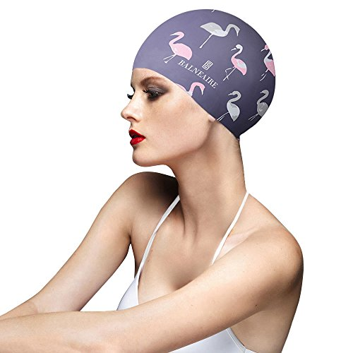 BALNEAIRE Silicone Long Hair Swim Cap for Women, UV Blocked &Waterproof Hand Painted Bird Print - Hair Cap Swim Long
