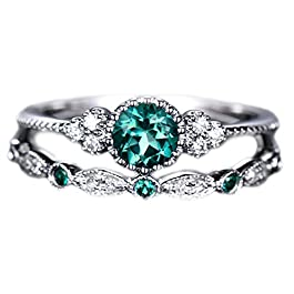 Brishow Engagement Rings Promise Eternity Wedding Bands Vintage Fashion Style Bridal Ring Set For Women and Girls Anniversary CZ Ring Size 5-10 (Green)