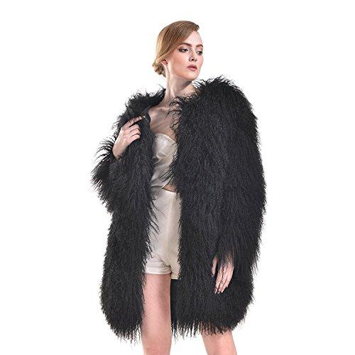 MINGCHUAN Genuine Mongolian Lamb Fur Coat Long Sleeve Jacket Outwear For Women (Regular Section)