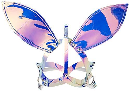 Ariana Grande Halloween Costume For Kids (Leg Avenue Women's Holographic Vinyl Bunny Ear Mask, Holo,)