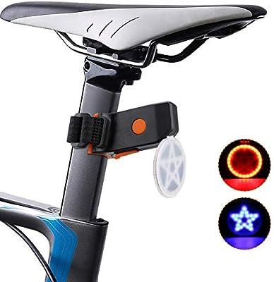 Luz trasera de bicicleta, luz trasera de bicicleta recargable USB ...