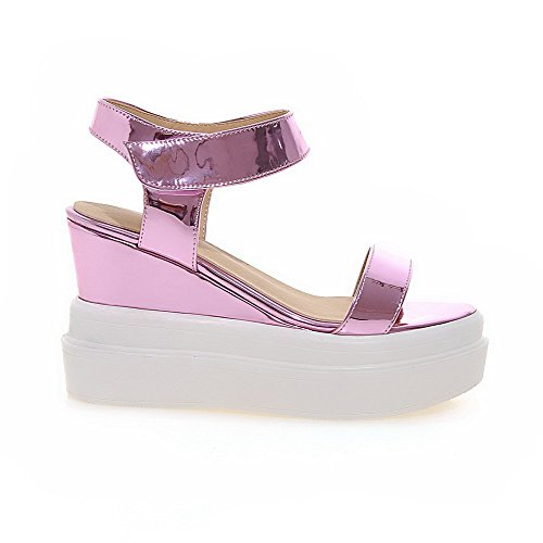 Amoonyfashion Mujeres High-heels Material Suave Solid Hook-and-loop Open-toe Sandals Pink