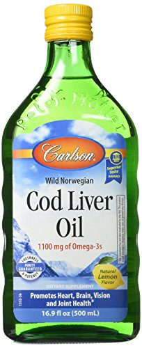 Carlson Labs Cod Liver Oil Nutritional Supplement, Lemon, 16.9 Fluid Ounce