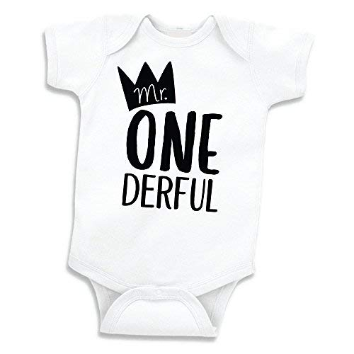 Boy First Birthday Outfit, Mr. One-Derful Shirt (12-18 Months) -