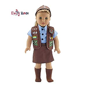 Emily Rose 18 Inch Doll Clothes for American Girl Dolls   Doll Brownie Girl Scout Modern 5 Piece Uniform Outfit with Skort!   Gift Boxed!   Fits 18″ Our Generation and Journey Girls Dolls