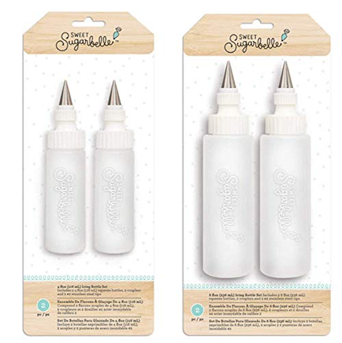 Sweet Sugarbelle Cookie Icing Bottles - 4 Ounce & 8 Ounce Squeeze Bottles with Couplers and Stainless Steel Tips