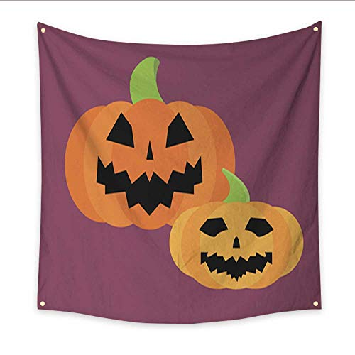 Wall Hanging Tapestry Fresh orange pumpkin seasonal ripe food raw vegetarian vegetable halloween icon traditional trick or treat celebration cemetery vector illustration large tableclo 70W x 70L Inch -