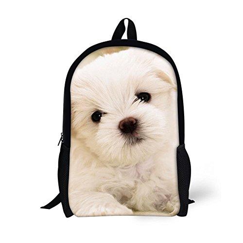 (HUGS IDEA Cute Kids School Bag Bookbag Puppy Printed Backpack for Teenagers Girls Casual Travel Bags)