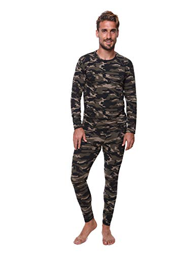 Outland Men's Thermal Set Lightweight Ultra Soft Fleece, Base Layer, Interior Very Warm (2XLarge, Camouflage)