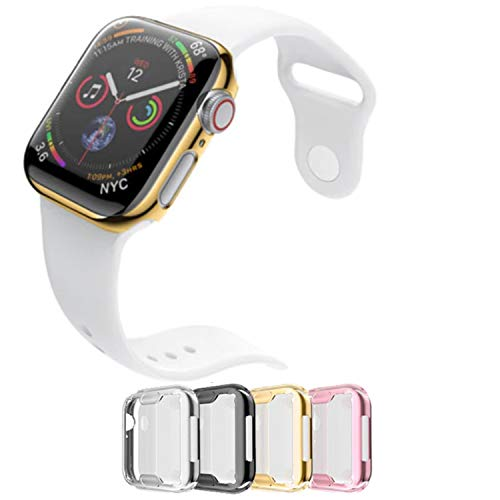 Case for Apple Watch 40m Series 4 Built-in Screen Protector All Around Protective Cover 4 Pack Bundle Black, Silver, Gold, Rose Gold HD Clear Ultra-Thin 40mm iWatch 4 Premium TPU Case by iV Industry
