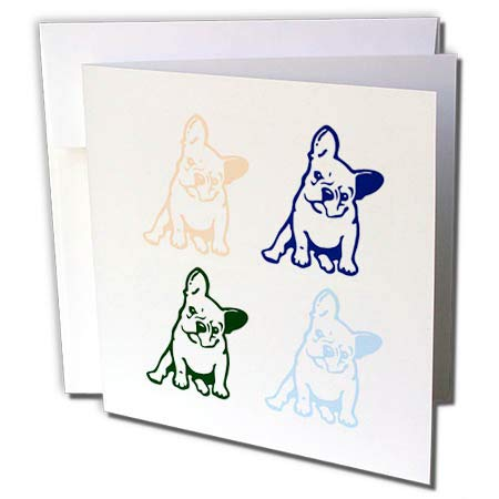 3dRose 3dRose Gabriella B - Quote - Image of Four French Bulldogs - 12 Greeting Cards with envelopes (gc_290950_2)