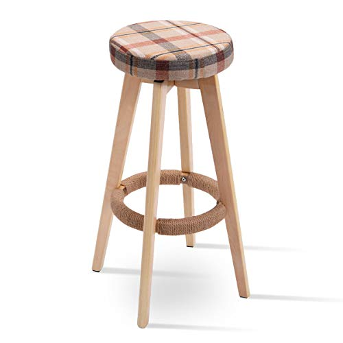 COSTWAY 29 Winsome Round Wood Bar Stool Dining Chair Counter Height Linen Seat 1, Red