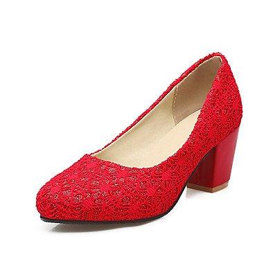 LvYuan Mujer-Tacón Robusto-Zapatos del club-Sandalias-Boda Exterior Oficina y Trabajo Vestido Informal Fiesta y Noche-Microfibra-Negro Rojo Beige Black