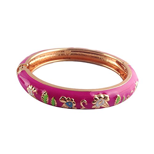 UJOY Classic Bracelet Bangle Morning Glory Flowers Cloisonne Jewelry for Kids Gifts Box 55D08 pink (Silver Bangle Bracelet Bamboo)
