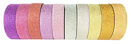 Washi Tape By L'artisant - Premium Quality Set Of 10 Beautiful Rolls - Best For DIY Projects, Fun Kids' Craft Activities, Planners, Calendars, Organizers, Book-bindings, Scrap-bookings.Sparkle Glitter