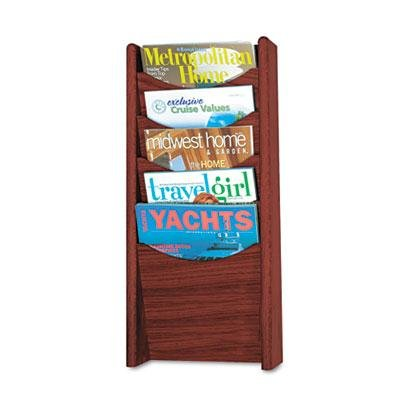 Safco - Solid Wood Wall-Mount Literature Display Rack 11-1/4W X 3-3/4D X 24H Mahogany ''Product Category: Office Furniture/Display Racks & Cases''