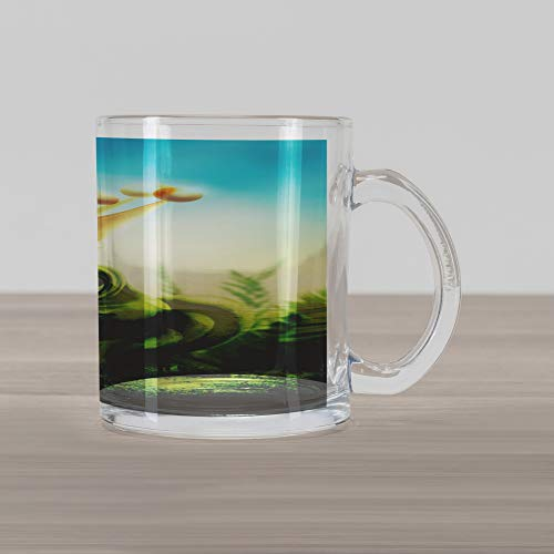 Ambesonne King Glass Mug, Frog Prince on Moss Stone with Crown Fairytale Inspired Cartoon Image, Printed Clear Glass Coffee Mug Cup for Beverages Water Tea Drinks, Forrest Green and Yellow