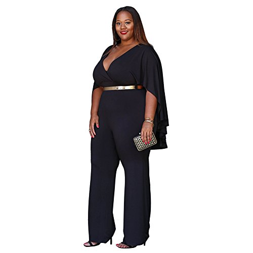 Women's Plus Size Jumpsuit with Attached Flowing Cape in Black by M.Brock (Image #1)