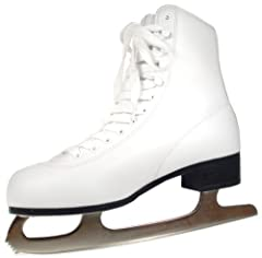 Best selling entry level figure skate. The tricot lined figure skate is comfortable, fits well and has an easy care durable PVC boot. The skate features multi layered ankle support, hollow ground, nickel plated steel blade, full quarter paddi...
