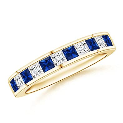 Angara Womens Natural Sapphire and Diamond Half Eternity Band in Platinum