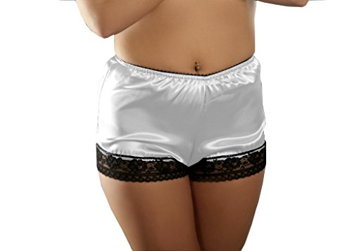Nine X - French Satin Knickers With Lace Trim S-3XL, Many Colours White XL