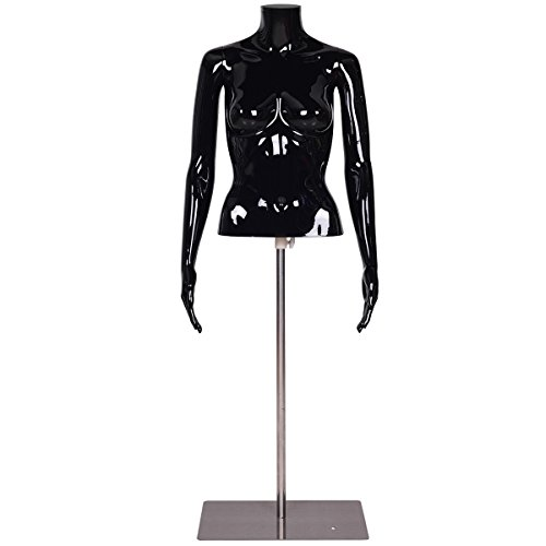 Giantex Headless Female Mannequin Torso Display Dress Form Adjustable w/ Metal Base (Black) by Giantex