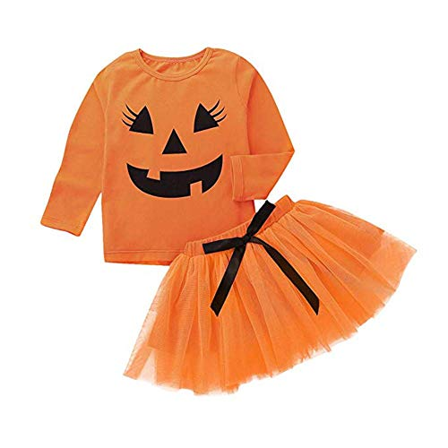 HESHENG 2Pcs Baby Girls Clothes Halloween Pumpkin Long Sleeve Smiling Face Tops + Tutu Skirt Outfits Set (Multi, 120 / 5T) ()