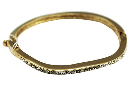 Golden Hinged Bangle With Wavy Rhinestone Diamonds