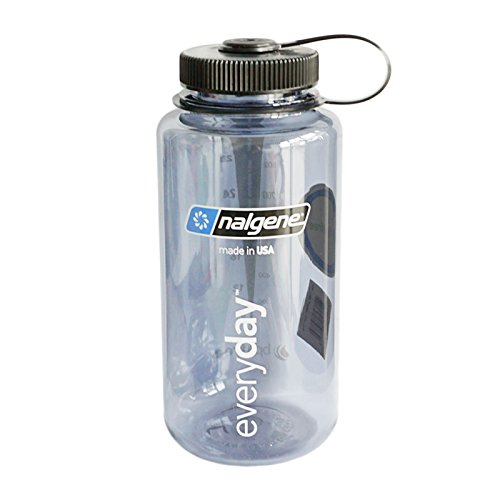 Nalgene BPA Free Tritan Wide Mouth Water Bottle, 32 Oz, Gray with Black Lid - Little Big Mouth Bottle