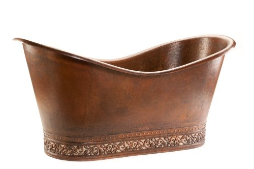 Inlay Scroll (Premier Copper Products BTN67DB 67-Inch Hammered Copper Double Slipper Bathtub with Scroll Base and Nickel Inlay, Oil Rubbed Bronze)